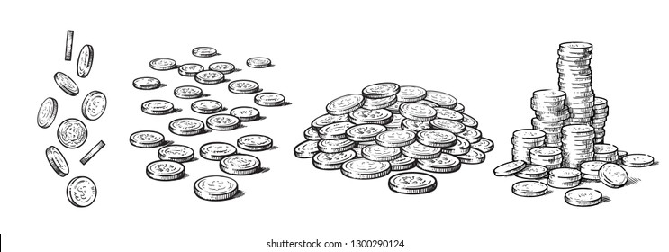 Sketch style set of coins in different positions. Falling dollars, pile of cash, stack of money. Black and white hand drawn collection isolated on white background. Vector illustration.