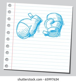 Sketch style vector illustration of a pair of boxing gloves