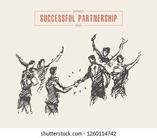Sketch of a successful business deal, businessmen handshake, partnership, hand drawn vector illustration