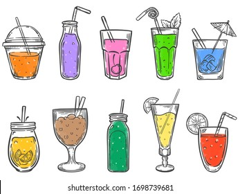 Sketch summer drinks. Glass of soft drink, cold fruit juice and colorful coctalis hand drawn vector illustration set. Drink cocktail glass, juice fruit healthy