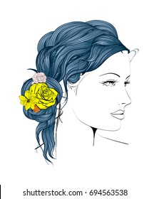 Sketch. Summer Style. Girl with flowers in her hair