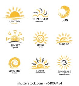 Sketch of sun with text isolated on white background. Template for suny logo design element or icons collection. Vector illustration