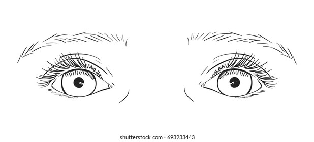 Sketch of symmetrical baby eyes with long eyelashes reflected in the eyeballs, Hand drawn vector illustration isolated on white background