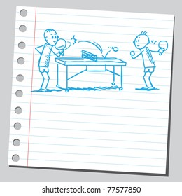 "Sketch of a ""table tennis"" game"