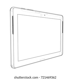 Sketch of Tablet PC. Vector rendering of 3d. Wire-frame style. The layers of visible and invisible lines are separated