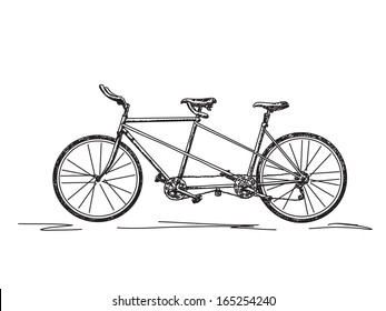 Sketch of tandem bicycle vector