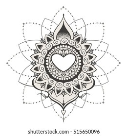 Sketch of tattoo henna hearts. Mehndi elements for tattoo design, card backgrounds, print on clothes or else. Vector hearts for Valentines day