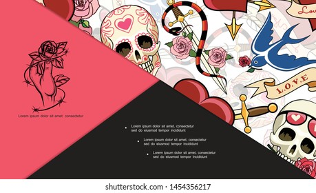 Sketch tattoo symbols composition with human skulls flying swallow snake around dagger pierced heart rose flowers vector illustration