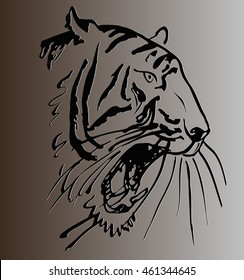 sketch of a tattoo of tiger head with open mouth against gray background