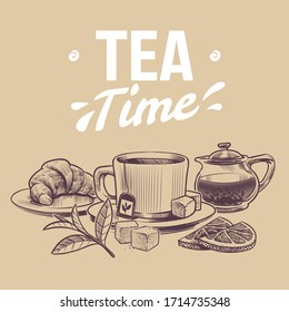 Sketch tea. Hand drawn objects for tea shop, mugs and kettle tea leaves and dried herbs, croissant and lemon slices vector vintage background