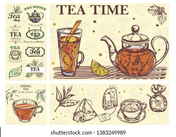 Sketch Tea Time Colorful Concept with glass cup teapot of beverage herbs bags and tea labels vector illustration