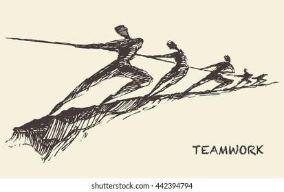 Sketch of a team, pulling line. Teamwork, partnership concept vector illustration
