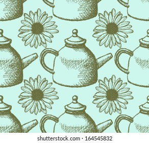 Sketch teapot and daisy, vector background