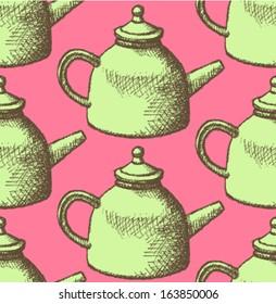 Sketch teapot, vector background