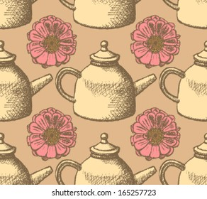 Sketch teapot and zinnia, vector background