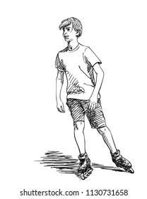 Sketch of teenage boy on rollers skating isolated on white background, Hand drawn vector illustration