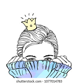 Sketch of teenage girl in golden crown hiding her face in warm blue knitted sweater, Hand drawn vector illustration, Every girl dreams of being a princess