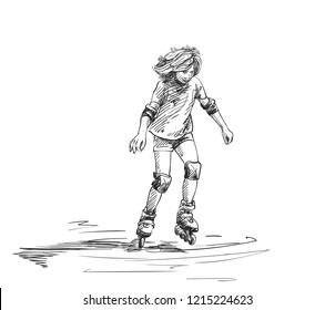 Sketch of teenage girl with long hair learning to skate on rollers, Hand drawn vector illustration isolated on white background