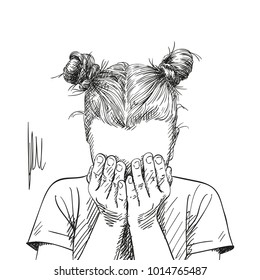 Sketch of teenage girl with two buns hairstyle covered her face with her palms, Hand drawn vector illustration