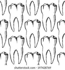 Sketch teeth, vector vintage seamless pattern eps 10
