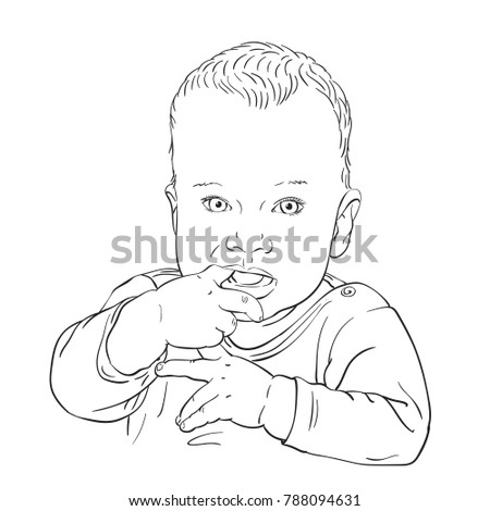 Sketch Ten Month Old Baby Boy Stock Vector Royalty Free 788094631