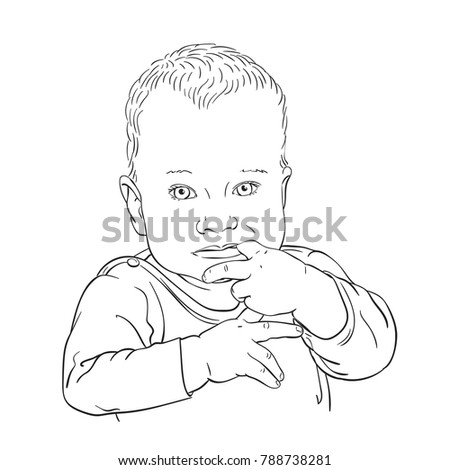 Sketch Ten Month Old Baby Boy Stock Vector Royalty Free 788738281
