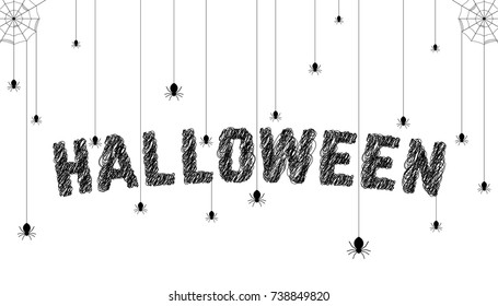 sketch text with spider like happy halloween. simple hand drawn flat style trend modern art graphic design isolated on white background. concept of cartoon banner greeting card with title for holiday