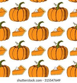 Sketch Thanksgiving seamless pattern. Pumpkin and slice of pumpkin pie in vintage style, vector