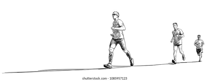 Sketch of three running men with long shadow, Hand drawn vector illustration