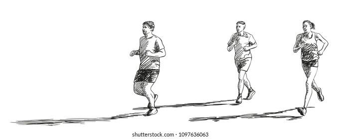 Sketch of three running people with long shadow, Hand drawn vector illustration