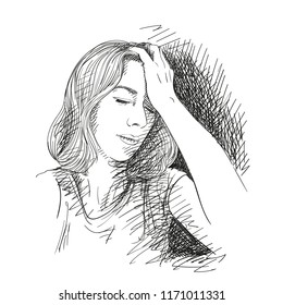 Sketch of tired young woman has headache , Hand drawn vector illustration with cross hatched shade