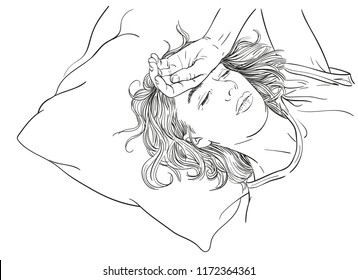Sketch of tired young woman sleeping in bed, Hand drawn vector linear illustration