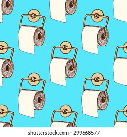 Sketch toilet paper in vintage style, vector seamless pattern