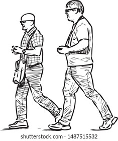 Sketch of tourists men striding down street on summer day