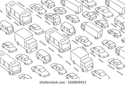 Sketch traffic jam car plug transport highway. Hand drawn black line