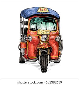 sketch of transportation city show traditional taxi motor tricycle in Thailand, illustration vector