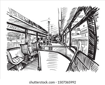 sketch of transportation in Hong Kong, show inside the tram that is running in the city, hand draw
