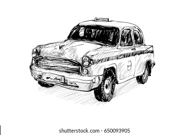 sketch of transportation in India show local taxi traditional isolated, illustration vector