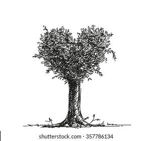 Sketch of tree heart shape, Hand drawn illustration