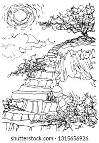 Sketch tree on mountain rock stair illustration vector doodle design hand drawn