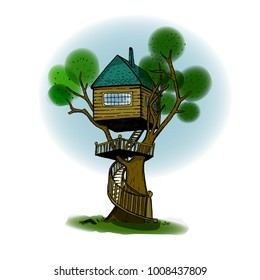 Sketch of treehouse in color. Layered and isolated vector illustration.