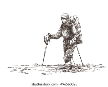 Sketch of trekking woman crossing river Hand drawn vector illustration