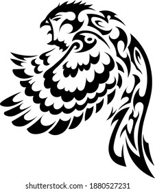 sketch tribal tattoo bird in flight. angry sparrow flaps its wings