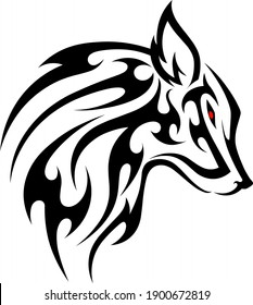 sketch tribal tattoo wolf head. vector drawing of a wolf's head made with figures and patterns. the image of a predator and a hunter
