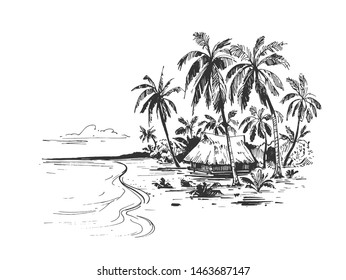 Sketch of a tropical beach with palm trees, bungalows and the sea. Hand drawn illistration converted to vector
