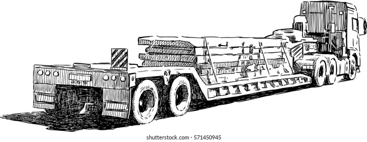the sketch of the truck transporting construction materials