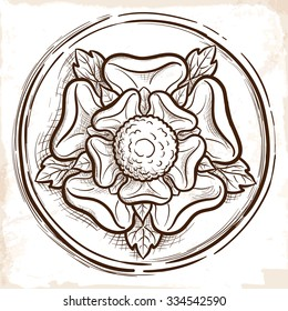 Sketch of the Tudor rose in a circular frame. Traditional heraldic emblem of the Tudor dynasty widely used as ornamental motif in the interior design. EPS10 vector illustration.