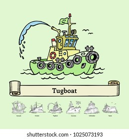 Sketch tugboat vector illustration. Coloring book with doodle ship. Handmade port boat with fountain.