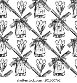 Sketch tulip and windmill, vector vintage seamless pattern