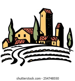 sketch Tuscany field landscape